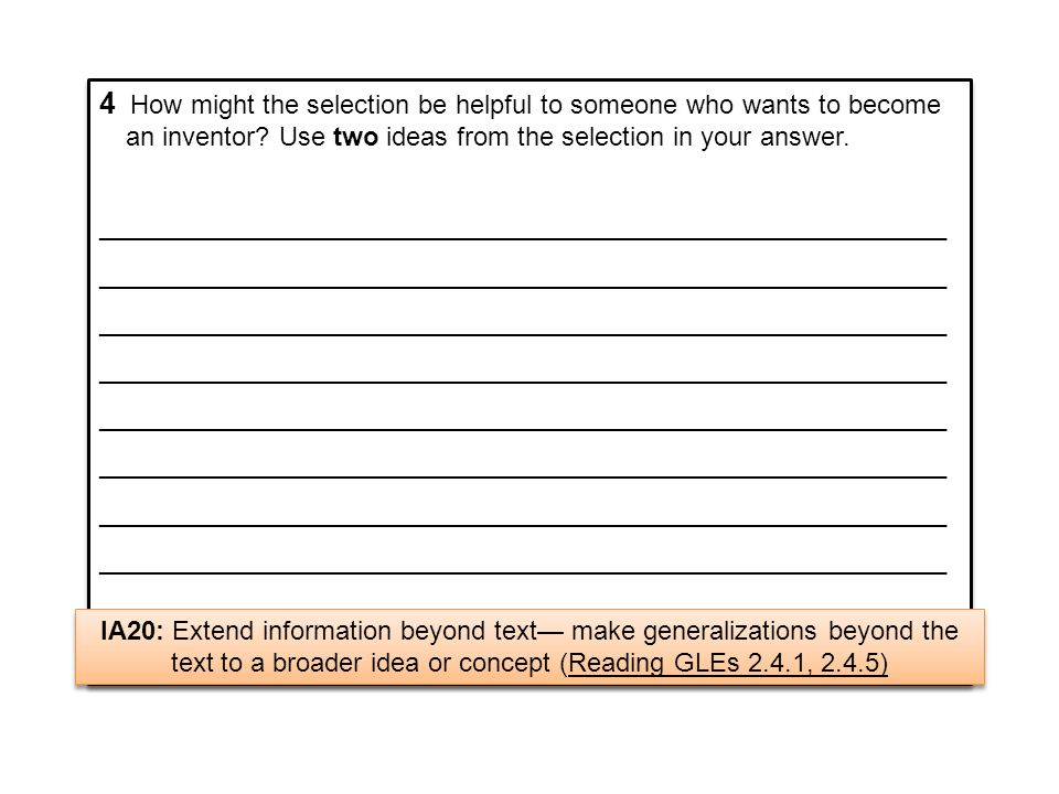 4 How might the selection be helpful to someone who wants to become an inventor Use two ideas from the selection in your answer.