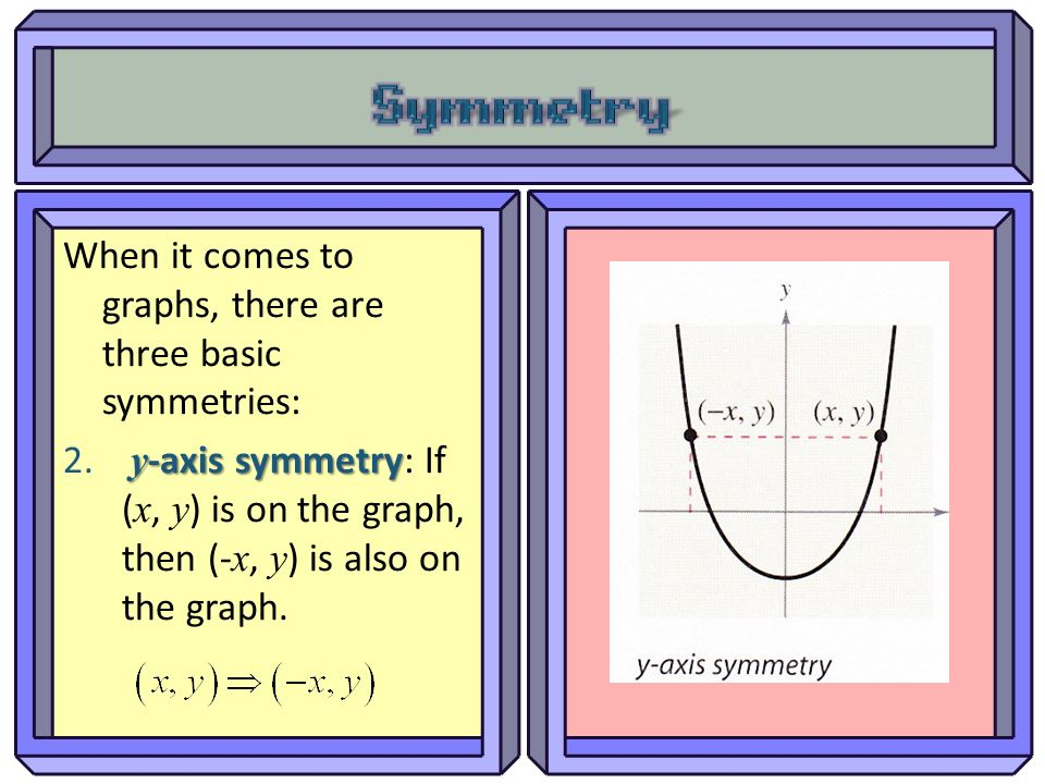 Symmetry When it comes to graphs, there are three basic symmetries: