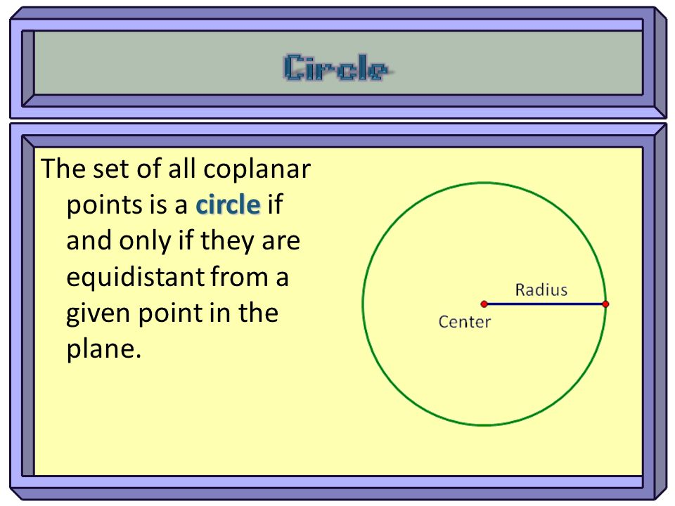 Circle The set of all coplanar points is a circle if and only if they are equidistant from a given point in the plane.