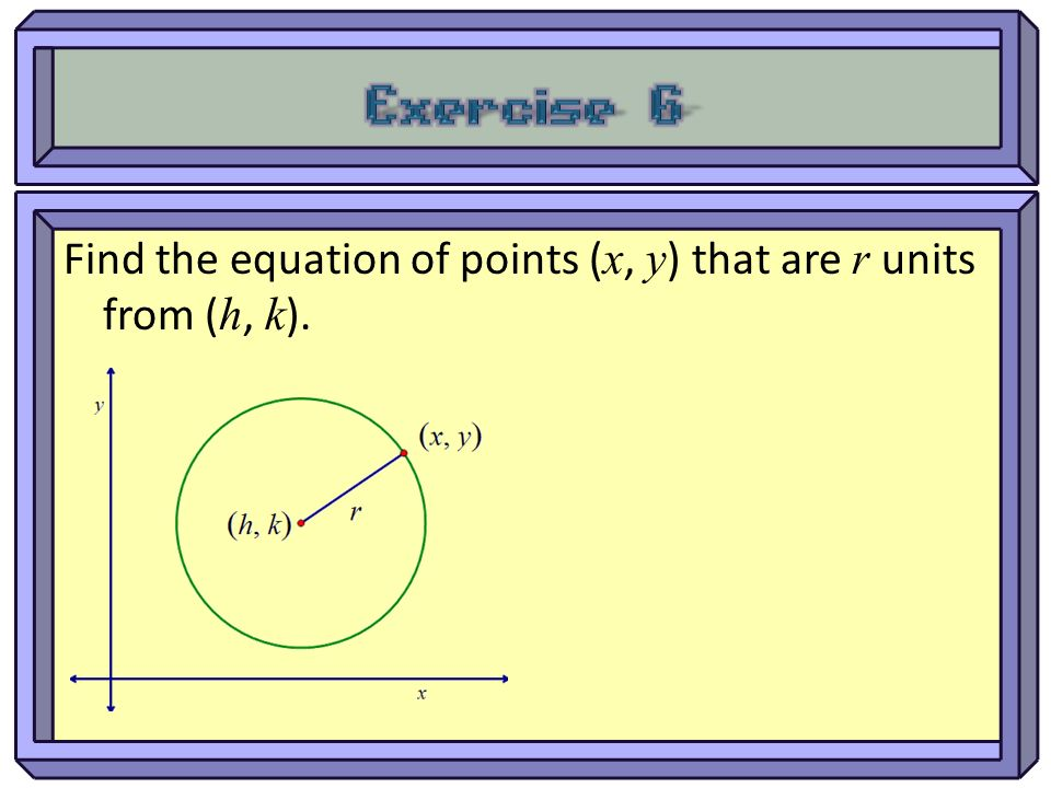 Exercise 6 Find the equation of points (x, y) that are r units from (h, k).