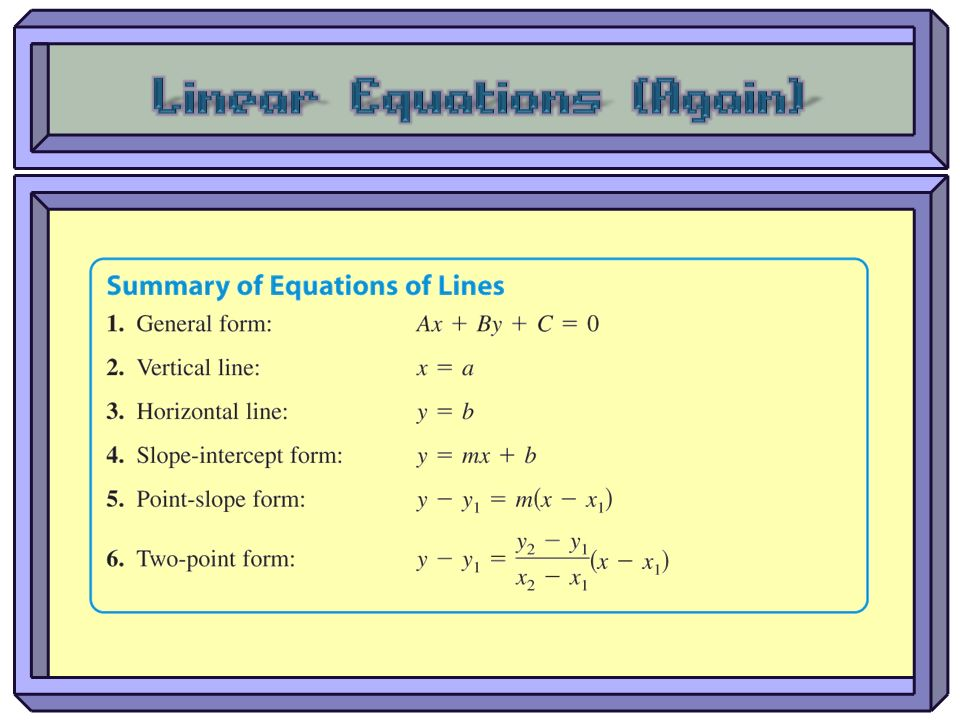Linear Equations (Again)