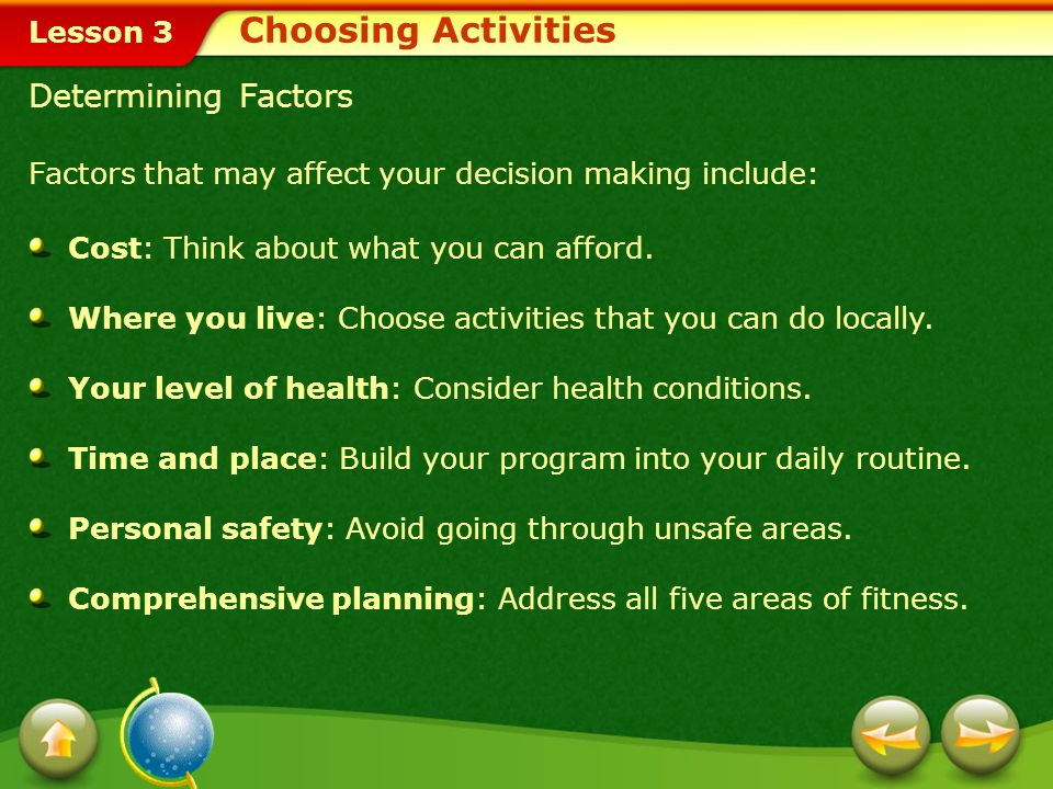 Choosing Activities Determining Factors