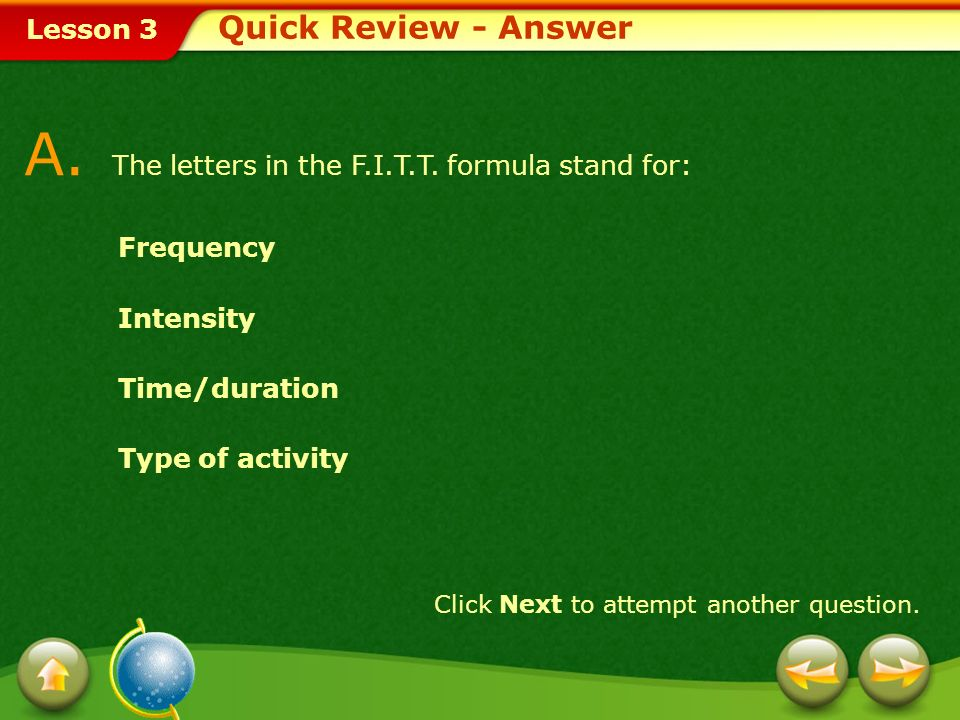 A. The letters in the F.I.T.T. formula stand for: