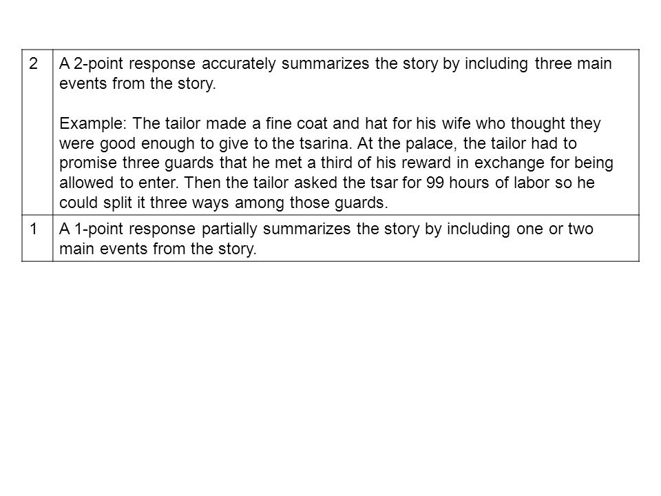 2 A 2-point response accurately summarizes the story by including three main events from the story.
