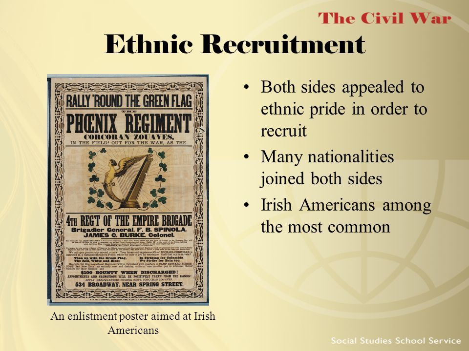 An enlistment poster aimed at Irish Americans