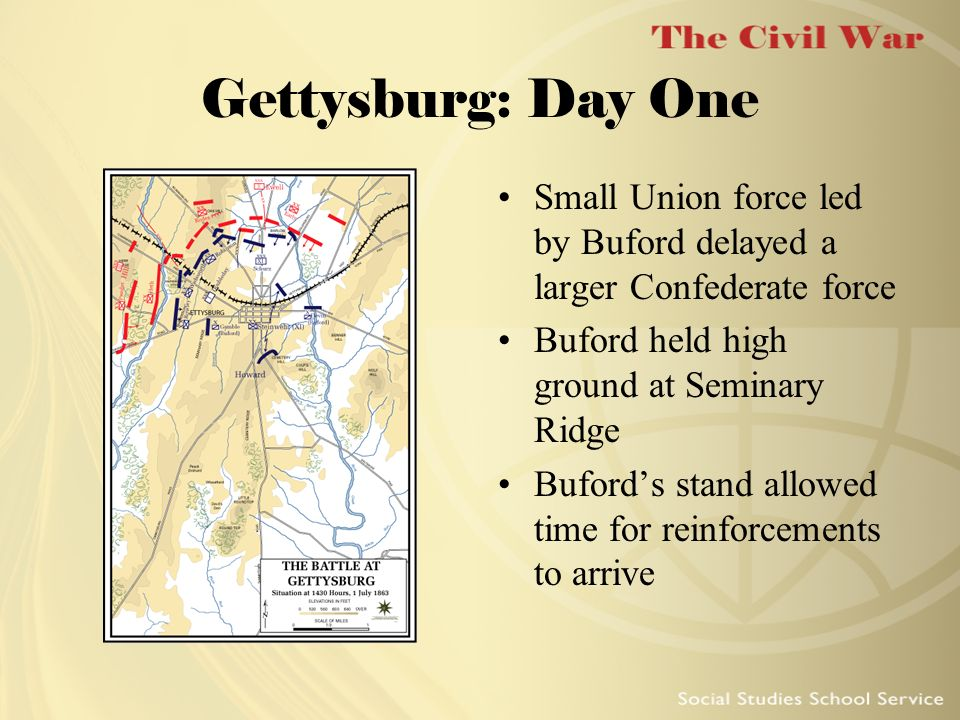 Gettysburg: Day OneSmall Union force led by Buford delayed a larger Confederate force. Buford held high ground at Seminary Ridge.