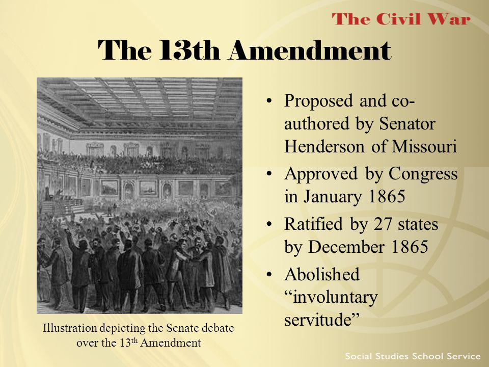 Illustration depicting the Senate debate over the 13th Amendment