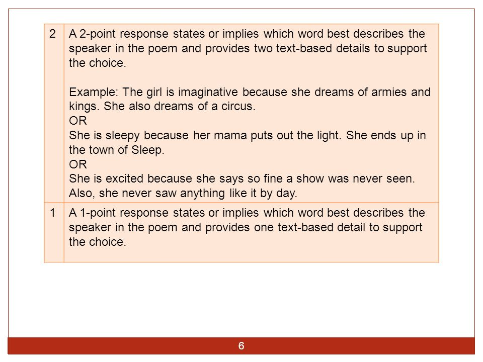 2 A 2-point response states or implies which word best describes the speaker in the poem and provides two text-based details to support the choice.