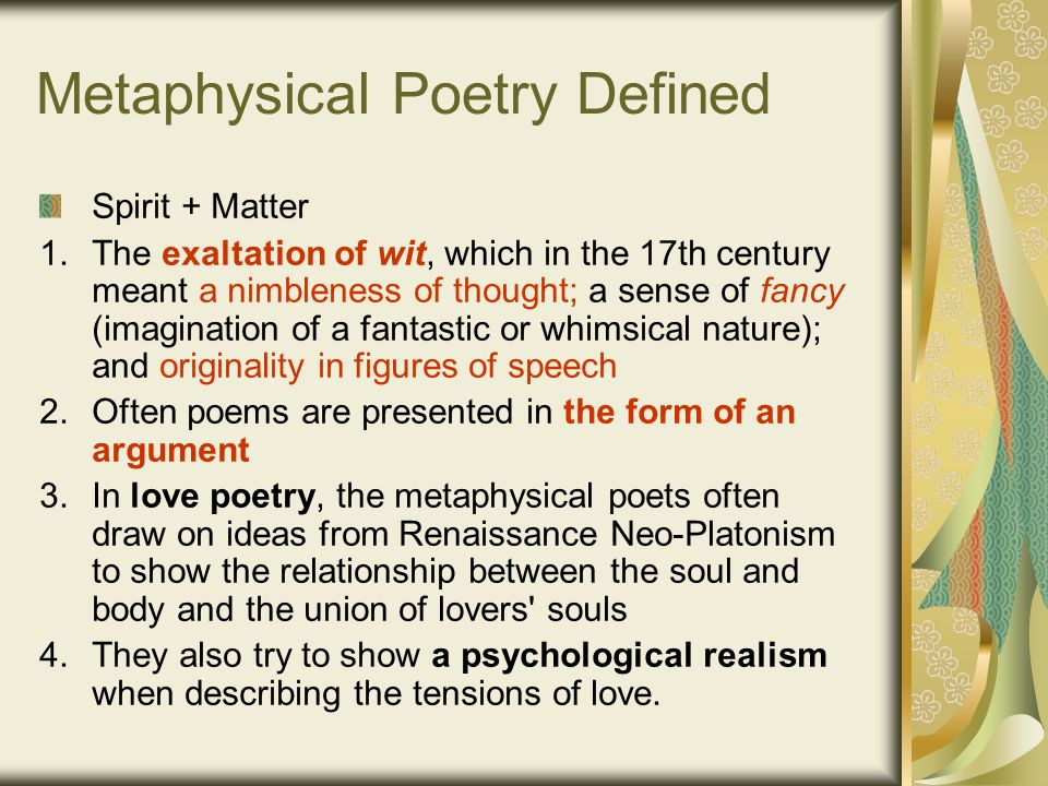 metaphysical poems Henry vaughan was a welsh physician and metaphysical poet vaughan and his twin brother the hermetic philosopher and alchemist thomas vaughan, were the sons of.