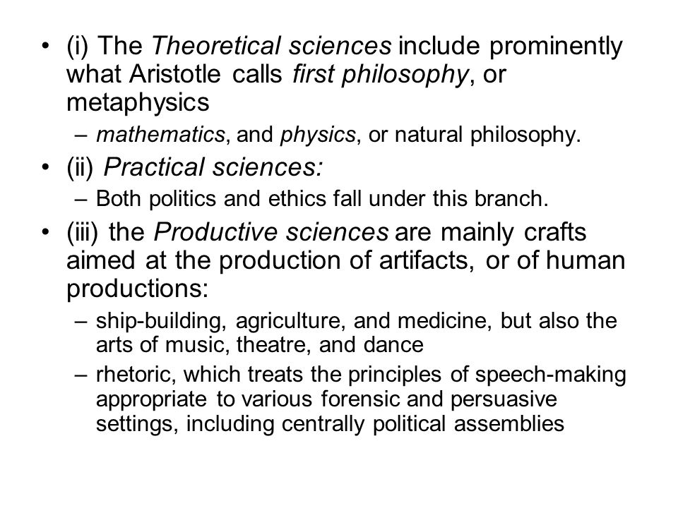 (ii) Practical sciences: