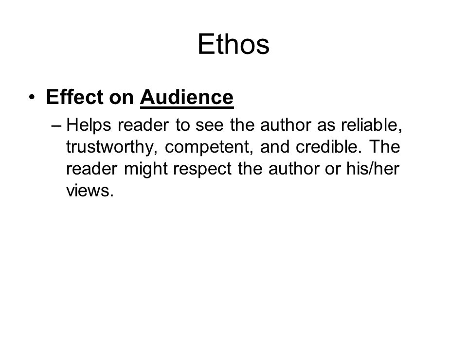 Ethos Effect on Audience