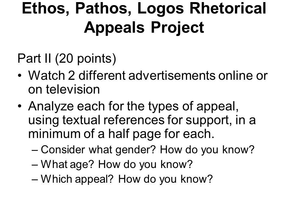 Ethos, Pathos, Logos Rhetorical Appeals Project