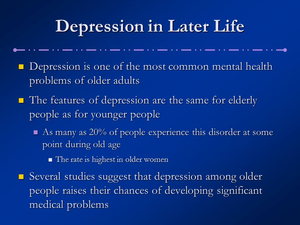 depression among the elderly Prevalence of depression among elderly people living in old age home in the  capital city kathmandu s ranjan1, a bhattarai2, m dutta2 1department of.