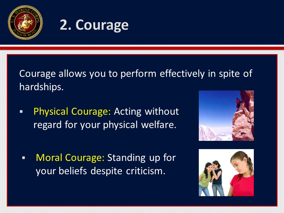 2. Courage Courage allows you to perform effectively in spite of hardships. Physical Courage: Acting without regard for your physical welfare.