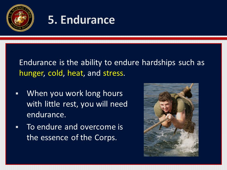 5. Endurance Endurance is the ability to endure hardships such as hunger, cold, heat, and stress.