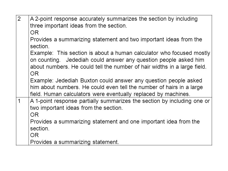 2 A 2-point response accurately summarizes the section by including three important ideas from the section.