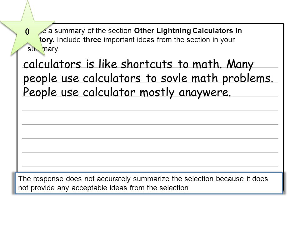 5 Write a summary of the section Other Lightning Calculators in History. Include three important ideas from the section in your.