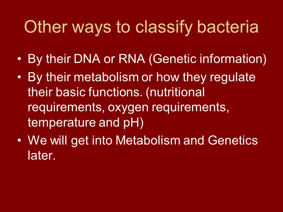 Other ways to classify bacteria