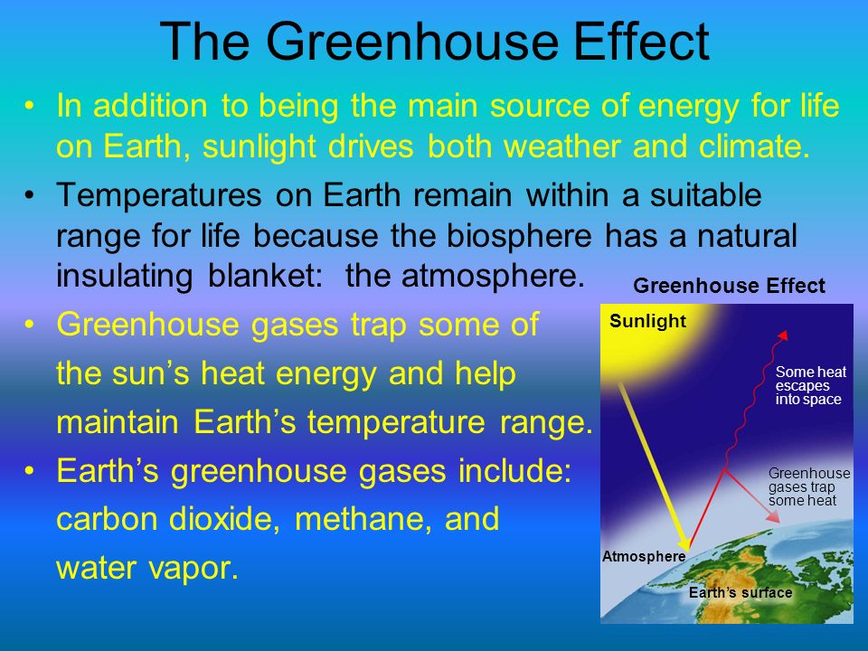 The Greenhouse Effect In addition to being the main source of energy for life on Earth, sunlight drives both weather and climate.