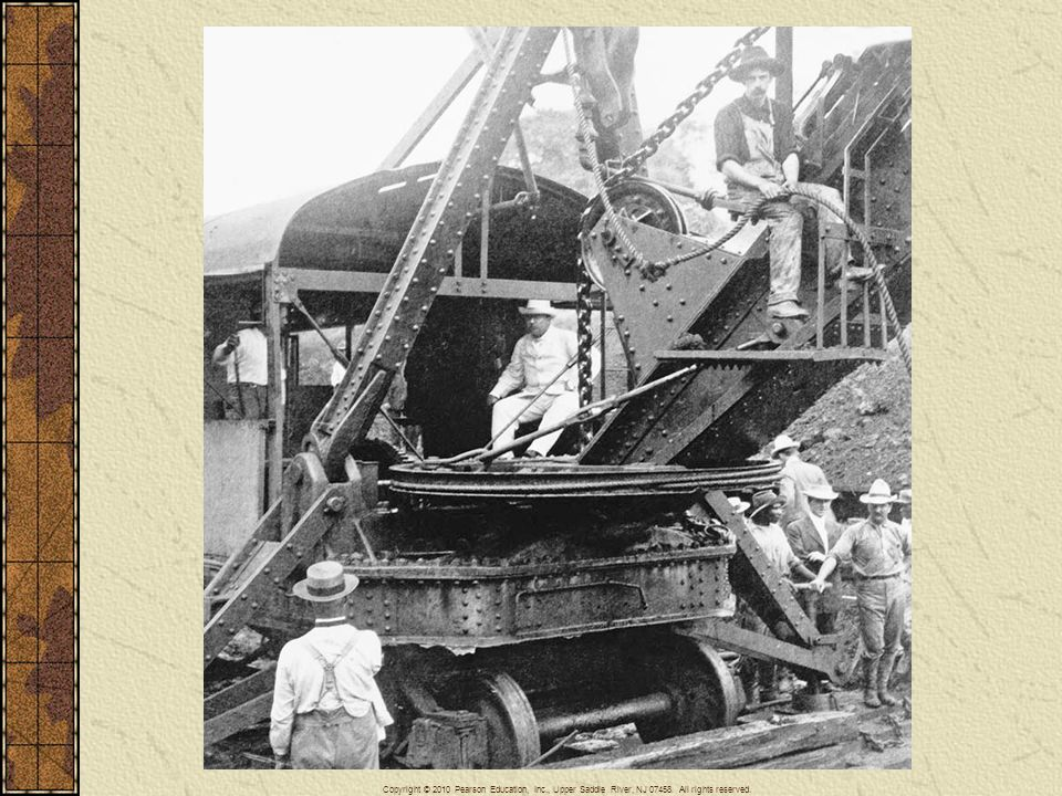 President Theodore Roosevelt at the controls of a steam shovel during construction of the Panama Canal in 1906. The Panama Canal serves as an example of U.S. imperialist ventures in the Western Hemisphere.