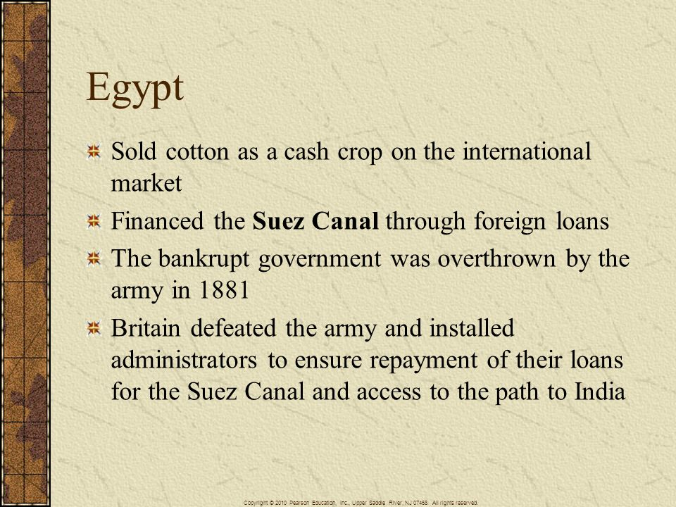 Egypt Sold cotton as a cash crop on the international market