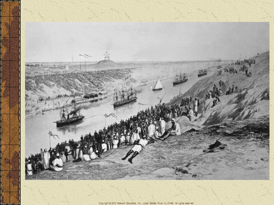 The opening of the Suez Canal in 1869 was a major engineering achievement that linked Asia to Europe. It also became a major international waterway benefiting all maritime states reducing the distance from London to Bombay in half.