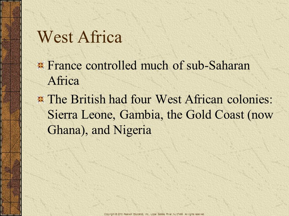West Africa France controlled much of sub-Saharan Africa