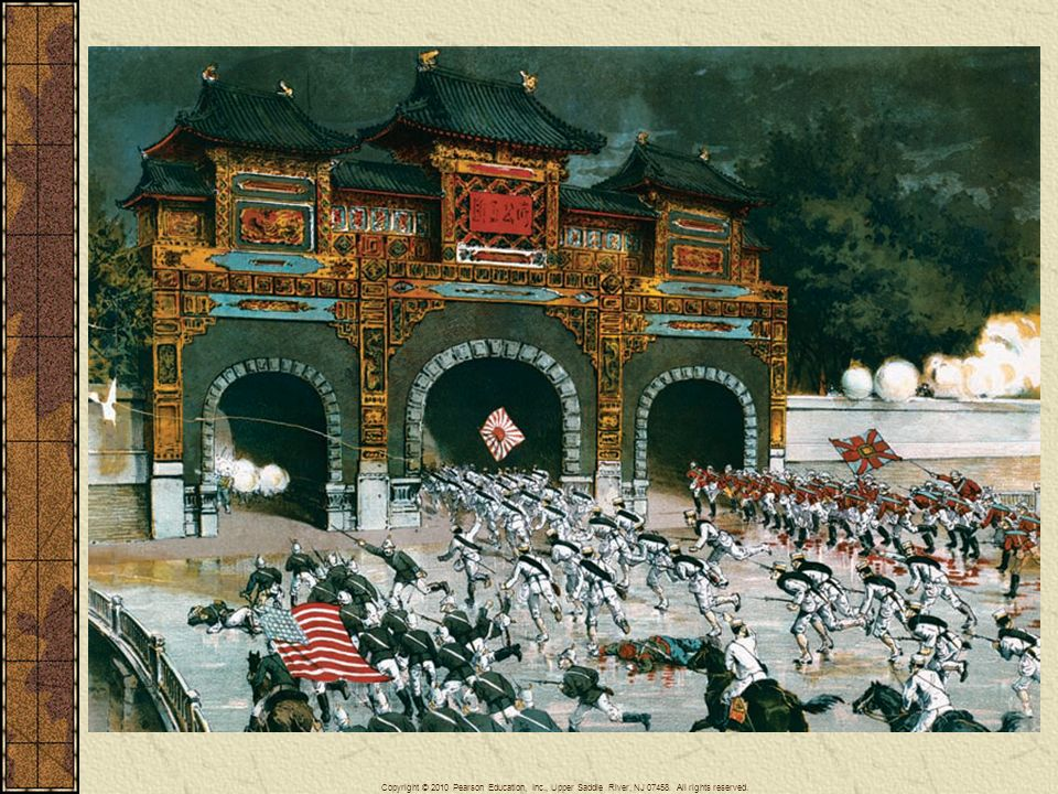 In 1900, an international force composed of troops drawn from Austria-Hungary, the French Third Republic, the German Empire, Italy, Japan, Russia, the United Kingdom, and the United States invaded China to put down the Boxer Rebellion, which had endangered Western missionaries and Western interests in China. In August 1900 these forces occupied Beijing. This contemporary print presents the image of a romanticized heroic assault by these foreign troops.