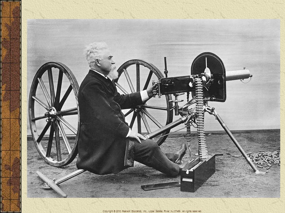 The Maxim was the first wholly portable machine gun, pictured here with its American-born inventor Hiram Stevens Maxim (1840–1916), who became a British citizen. Technological superiority in weaponry and naval ships accounted in large measure for the success of Western imperialism in the nineteenth century.