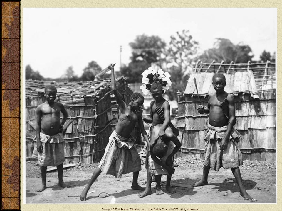 Peoples from colonized nations were transported to various world's fairs and similar exhibitions during the late nineteenth and early twentieth centuries. They constituted living exhibitions, where they were expected to portray native customs or the like. Here at the St. Louis World's Fair of 1904 African Pygmies demonstrated beheading. In this and other similar examples, native peoples were frequently presented in demeaning roles that filled the expectations of spectators to see exotic behavior. Such performances and exhibitions served to convince the Western spectators of the superiority of their civilization over that of the peoples living in the colonized world.