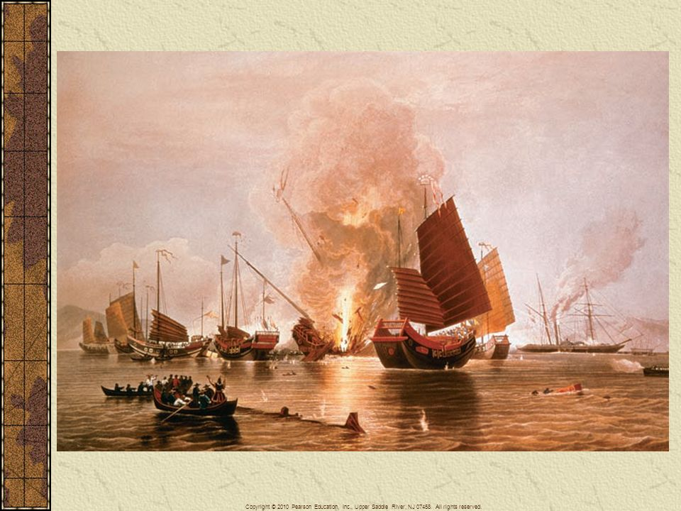 Armed Chinese junks were no match for British warships during the first Opium War. The war ended in 1842 with the Treaty of Nanjing.