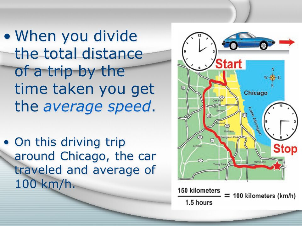 When you divide the total distance of a trip by the time taken you get the average speed.