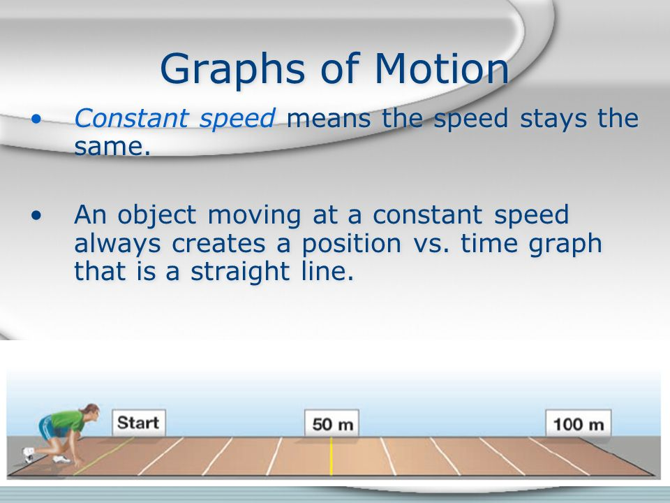 Graphs of Motion Constant speed means the speed stays the same.