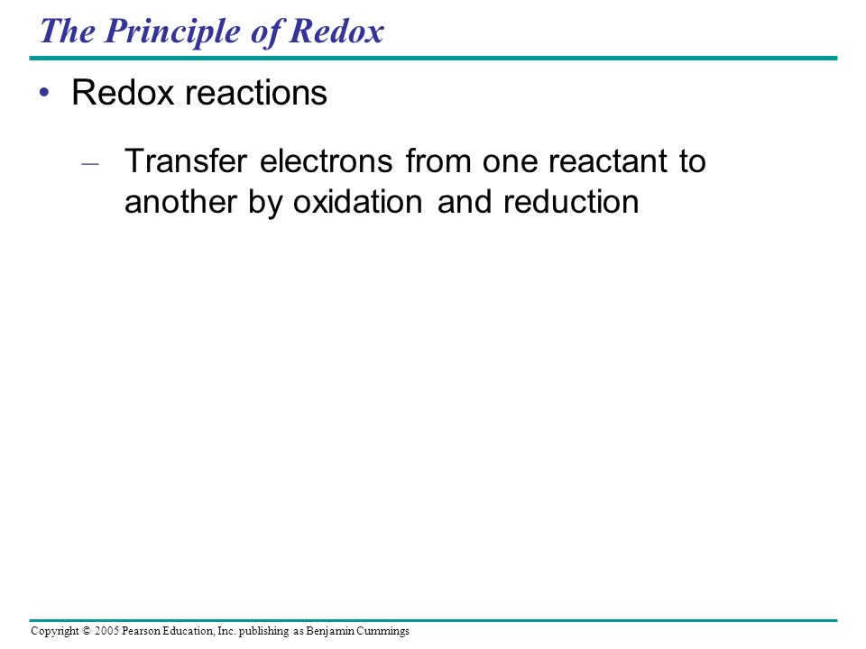 The Principle of Redox Redox reactions