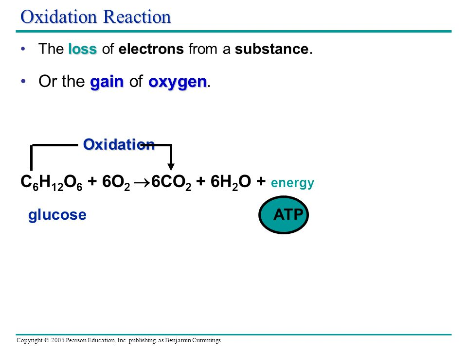 Oxidation Reaction Or the gain of oxygen.