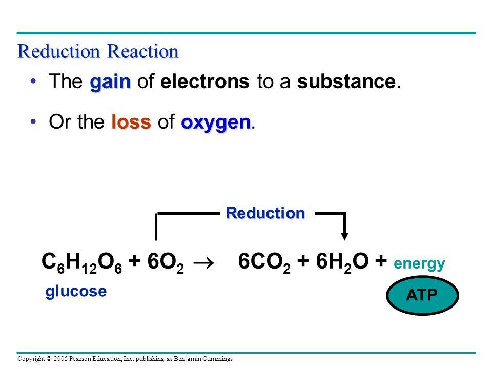 C6H12O6 + 6O2  6CO2 + 6H2O + energy Reduction Reaction
