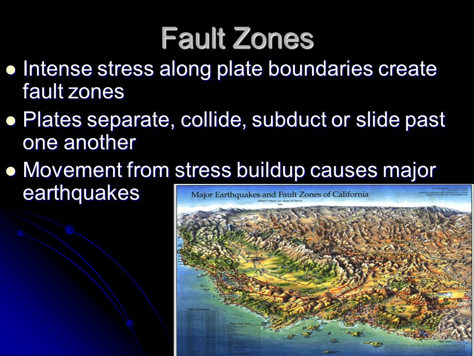 Fault Zones Intense stress along plate boundaries create fault zones