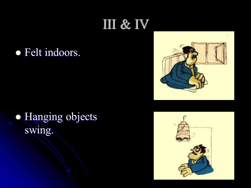 III & IV Felt indoors. Hanging objects swing.