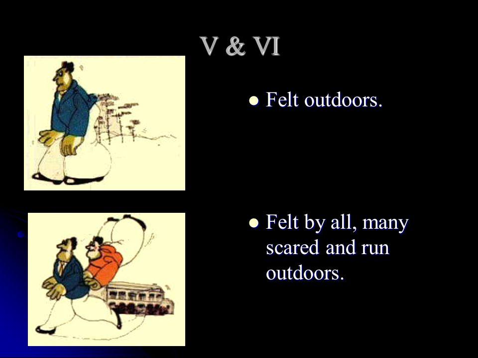 V & VI Felt outdoors. Felt by all, many scared and run outdoors.