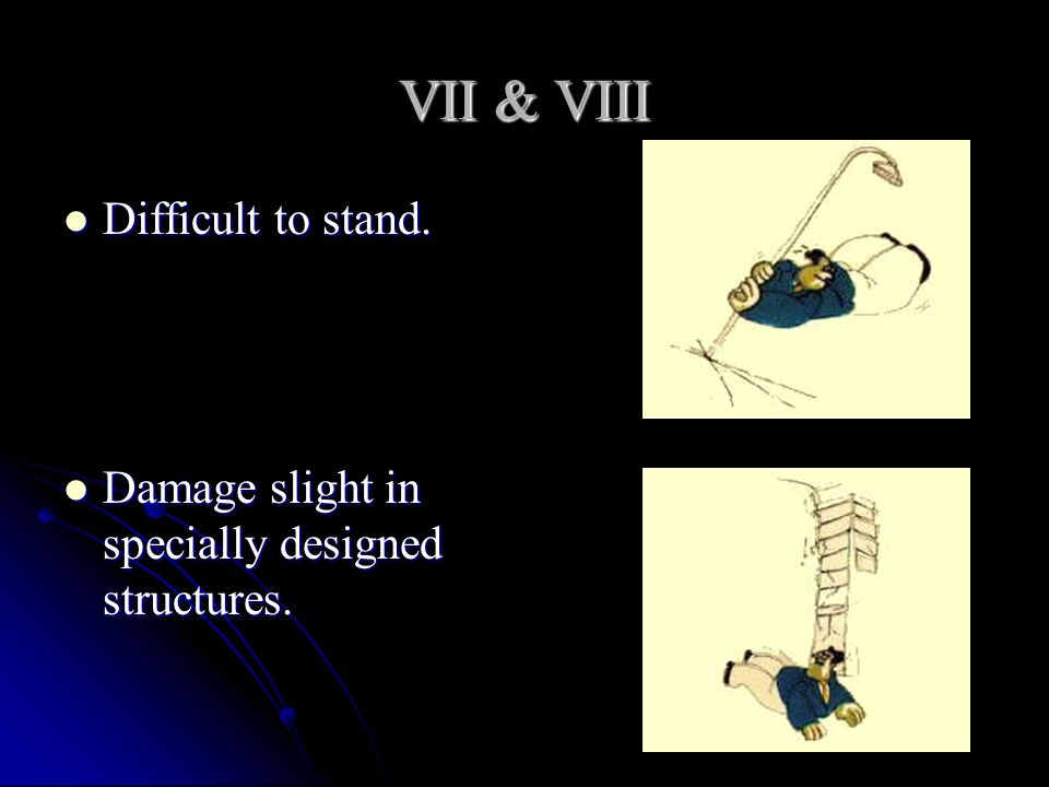 VII & VIII Difficult to stand.