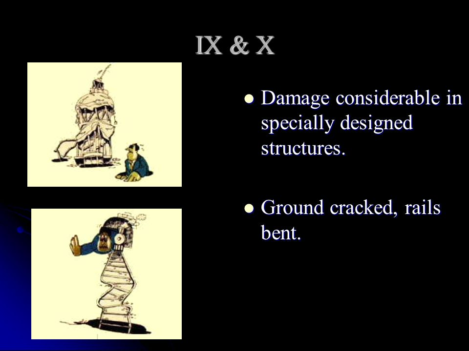 IX & X Damage considerable in specially designed structures.