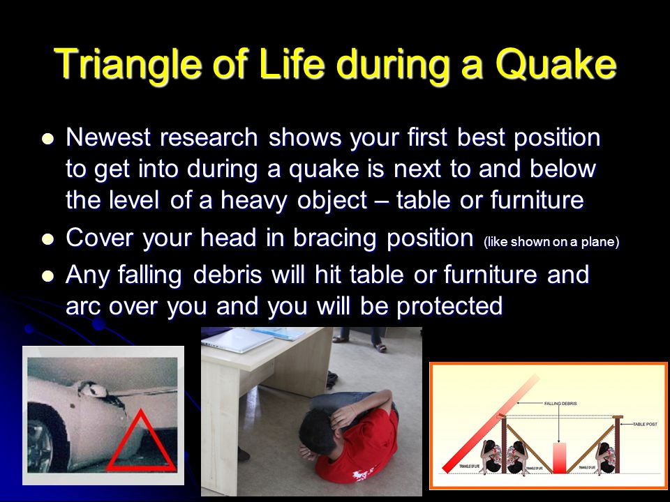 Triangle of Life during a Quake