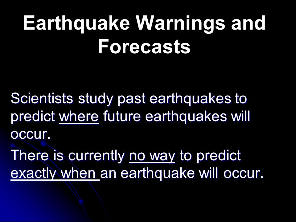 Earthquake Warnings and Forecasts