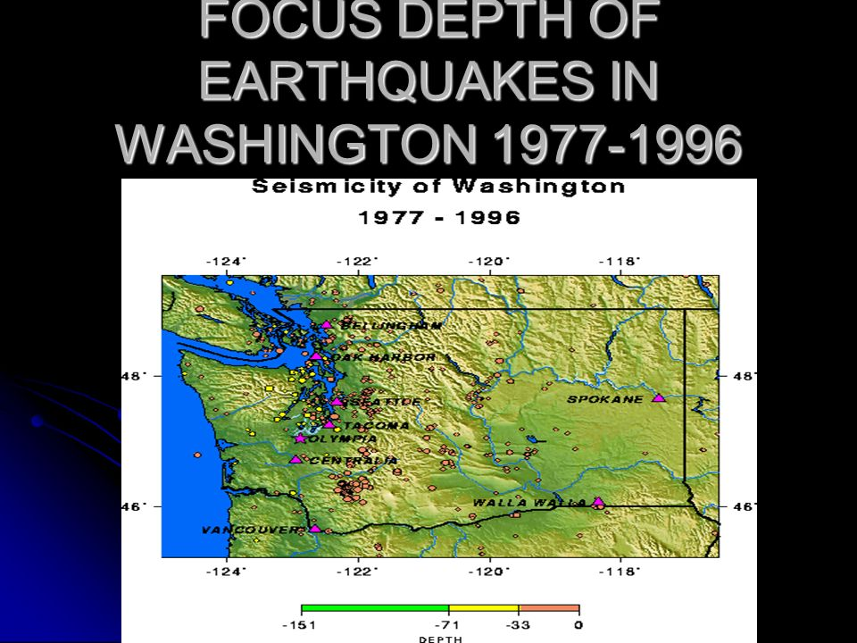 FOCUS DEPTH OF EARTHQUAKES IN WASHINGTON 1977-1996