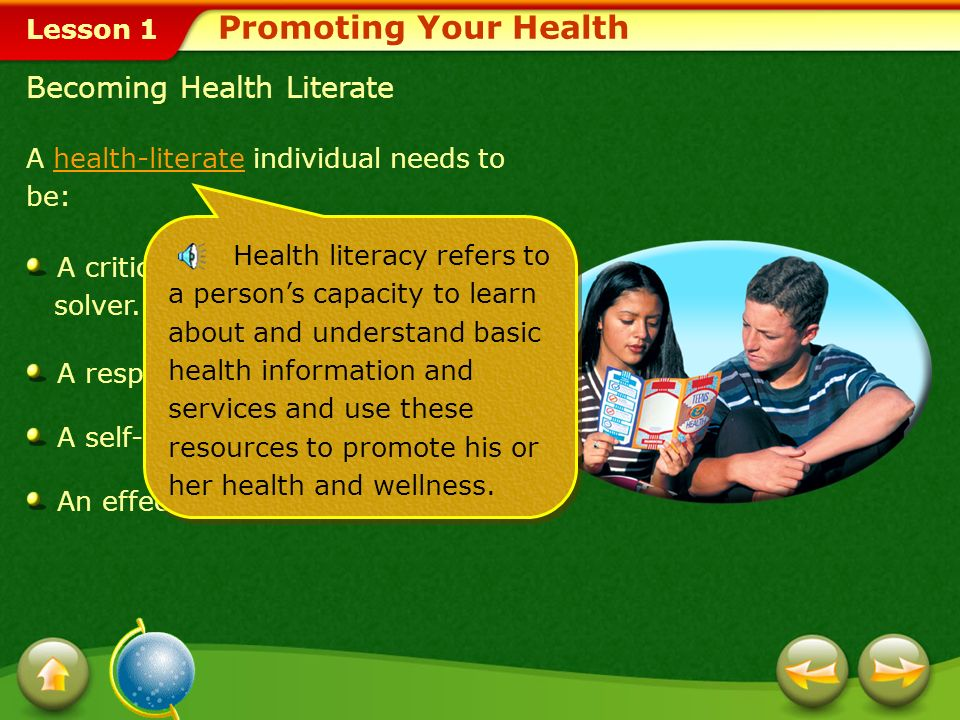 Promoting Your Health Becoming Health Literate
