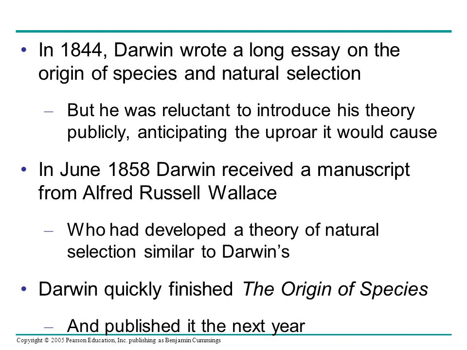 In June 1858 Darwin received a manuscript from Alfred Russell Wallace