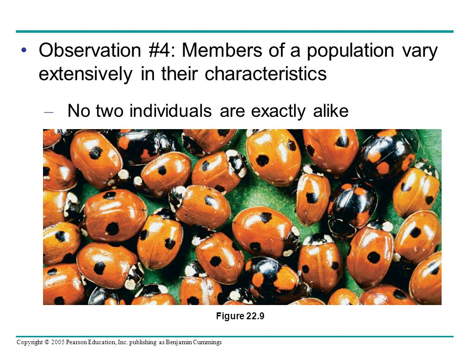 Observation #4: Members of a population vary extensively in their characteristics