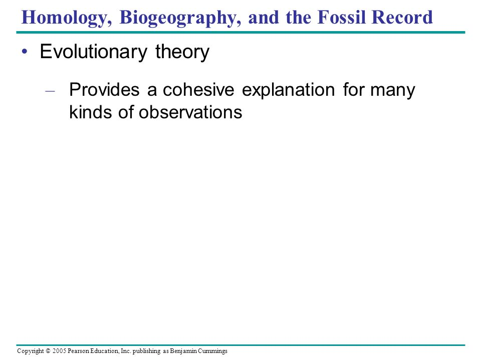 Homology, Biogeography, and the Fossil Record