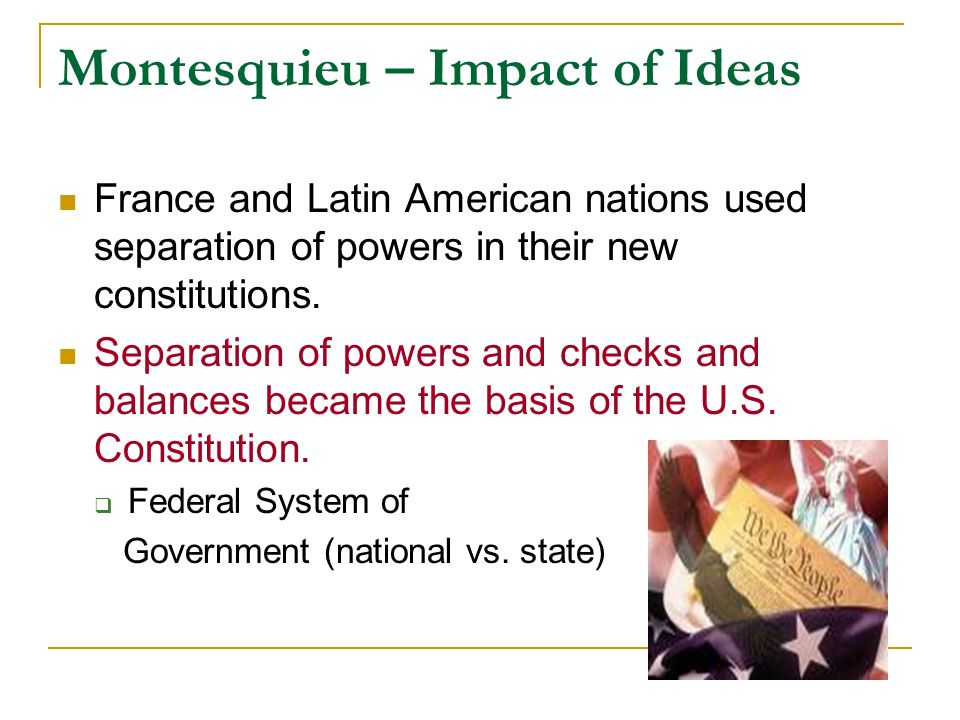 The possible impact of federalism in the government of america