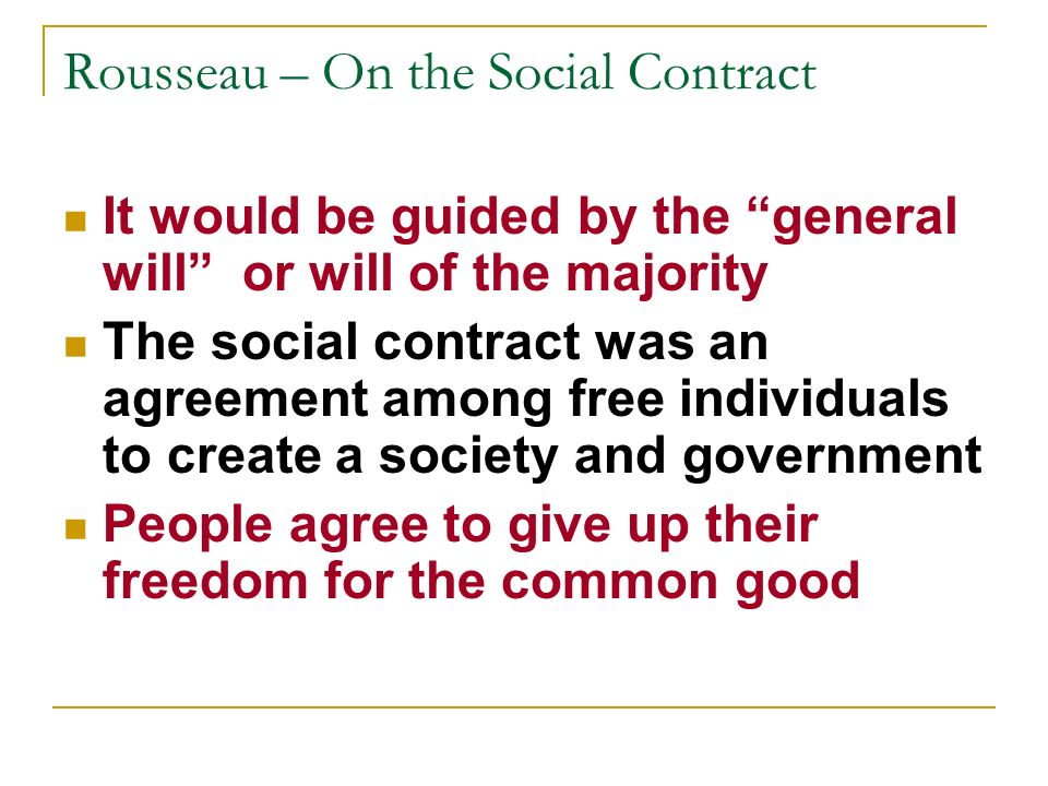 Rousseau – On the Social Contract